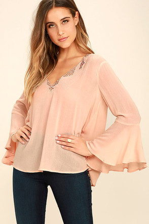 Rolling Pastures Light Peach Long Sleeve Top at Lulus.com!