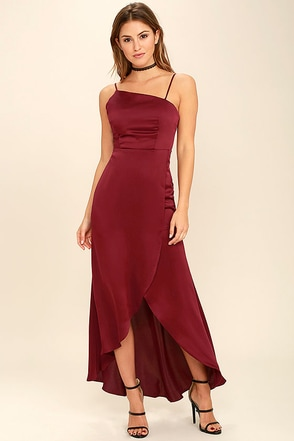 Open Arms Burgundy High-Low Dress at Lulus.com!