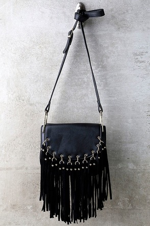 Above the Fray Black Fringe Purse at Lulus.com!