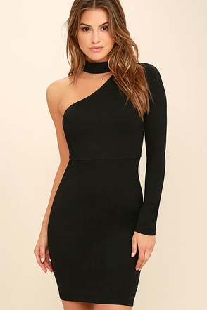 All I Half Black One Shoulder Dress 1