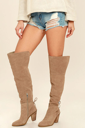 Jessica Simpson Cassina Olive Suede Leather Over the Knee Boots at Lulus.com!