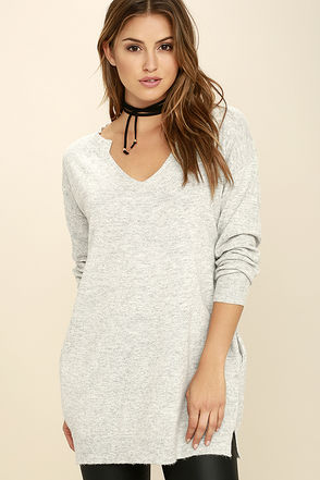 View from Here Heather Grey Sweater at Lulus.com!