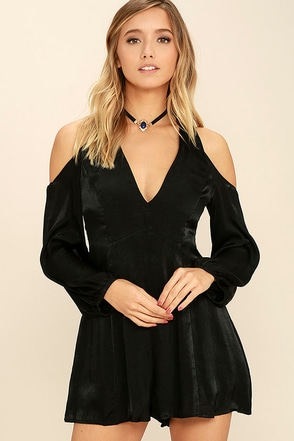 Body and Soul Black Long Sleeve Romper at Lulus.com!
