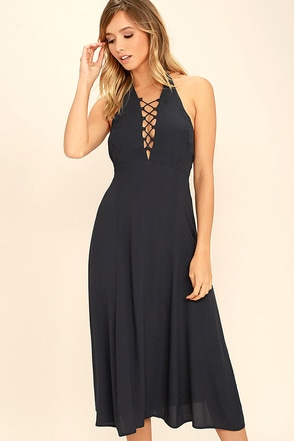 Boundless Beauty Navy Blue Lace-Up Midi Dress at Lulus.com!