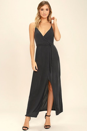 In Love Again Charcoal Grey Wrap Dress at Lulus.com!