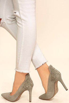 Jessica Simpson Crampell Stone Grey Suede Leather Pumps at Lulus.com!
