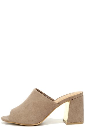 Maybelle Taupe Suede Peep-Toe Mules at Lulus.com!