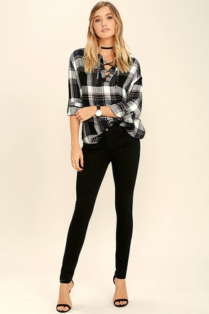 RVCA Hi Roader II Black Skinny Jeans at Lulus.com!