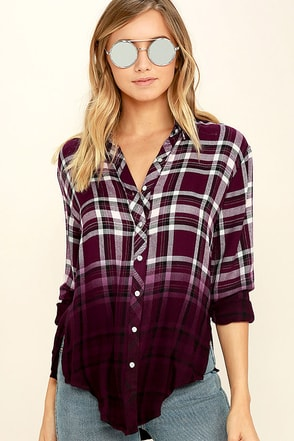 White Crow Open Arms Burgundy Plaid Button-Up Top at Lulus.com!