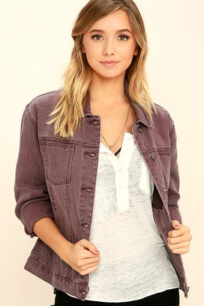 RVCA Road Worthy Washed Plum Purple Denim Jacket at Lulus.com!