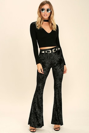 Cosmic Cutie Slate Blue Velvet Flare Pants at Lulus.com!