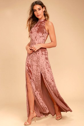Sway My Options Rusty Rose Velvet Maxi Dress at Lulus.com!