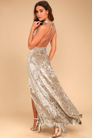 Sway My Options Taupe Velvet Maxi Dress 1