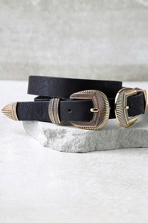 No Wonder Gold and Black Double Buckle Belt at Lulus.com!