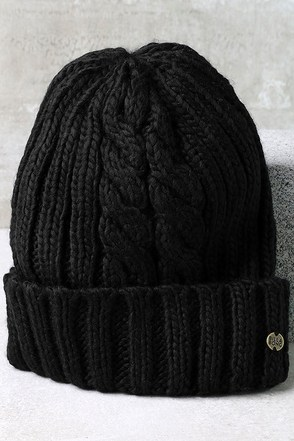 Billabong Icy Sands Black Knit Beanie at Lulus.com!