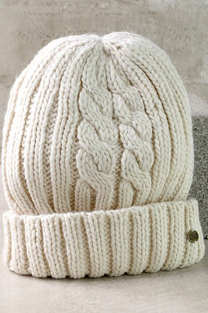 Billabong Icy Sands Cream Knit Beanie at Lulus.com!