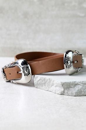 Western World Silver and Brown Double Buckle Belt at Lulus.com!