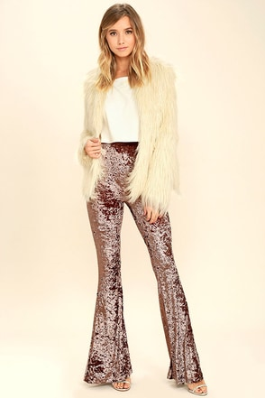 Cosmic Cutie Purple Velvet Flare Pants at Lulus.com!