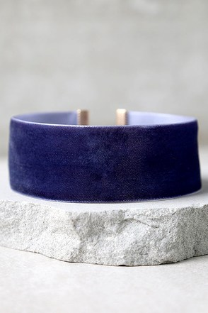 Angel of Mine Navy Blue Velvet Choker at Lulus.com!