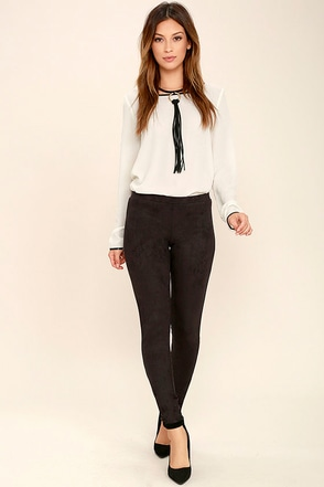 Saddle Up Charcoal Grey Suede Leggings at Lulus.com!