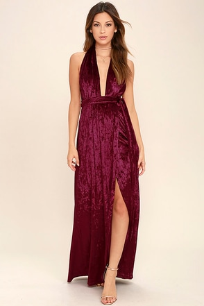 Aphrodite's Kiss Burgundy Halter Maxi Dress at Lulus.com!