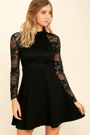 Socialite Up My Life Black Lace Skater Dress at Lulus.com!