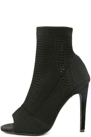 Cosmia Black High Heel Peep-Toe Booties 1
