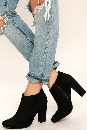 Joanne Black Suede Ankle Booties at Lulus.com!