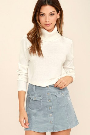 Rhythm Pennylane Light Blue Corduroy Mini Skirt at Lulus.com!