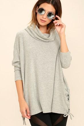 Black Swan Elle Light Grey Sweater Top at Lulus.com!