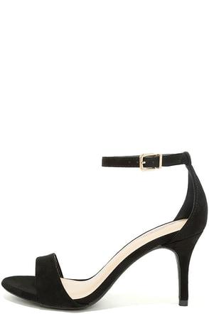 Lover Black Suede Ankle Strap Heels 1