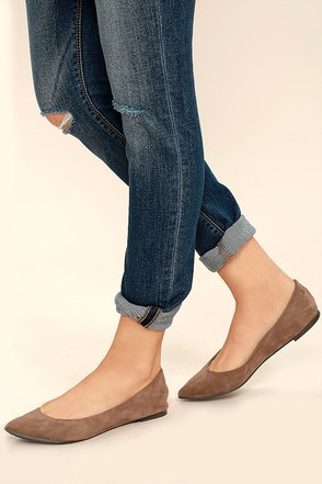 Lucille Taupe Suede Pointed Flats 1
