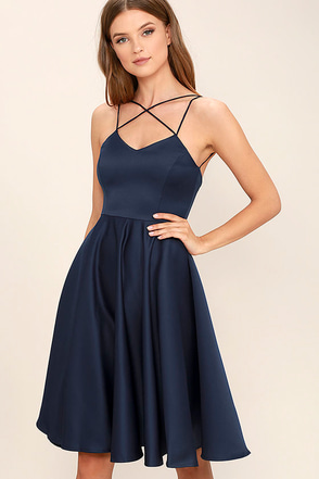Neverending Story Navy Blue Midi Dress at Lulus.com!