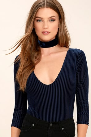 Land of Dreams Navy Blue Velvet Bodysuit at Lulus.com!