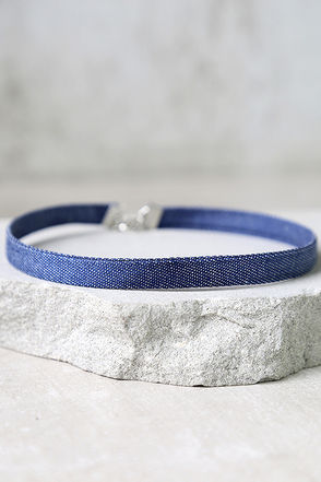 Norma Jean Dark Blue Denim Choker Necklace at Lulus.com!