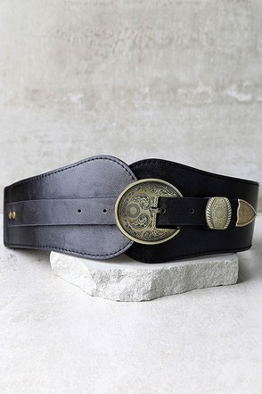 Hoot and Holler Black and Antiqued Silver Belt at Lulus.com!