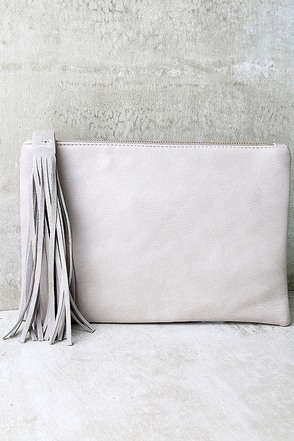 Only the Essentials Grey Clutch at Lulus.com!