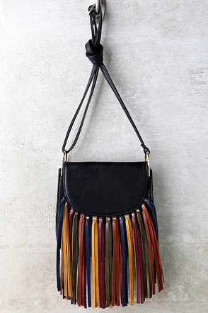 Over the Rainbow Black Fringe Purse at Lulus.com!