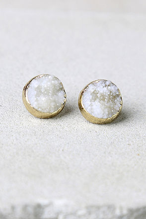 Dream Walking Gold and Ivory Earrings at Lulus.com!