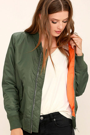 Long Distance Love Olive Green Bomber Jacket at Lulus.com!