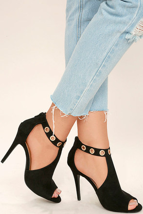 Lorde Black Suede Peep-Toe Booties at Lulus.com!