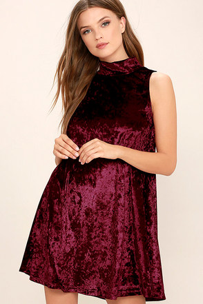 Dream of Decadence Burgundy Velvet Swing Dress at Lulus.com!