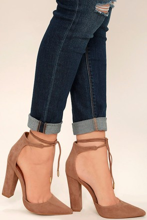 Angela Taupe Suede Lace-Up Heels 1