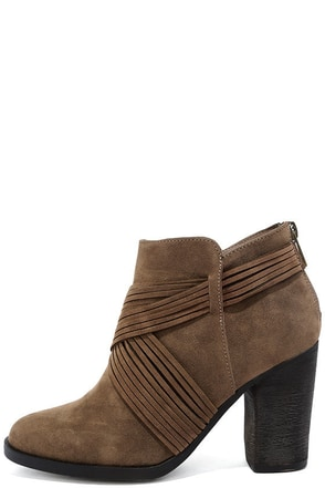 Olena Taupe Suede Ankle Booties 1