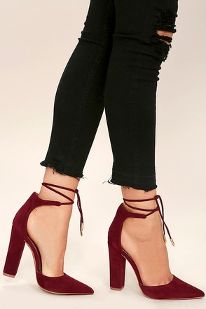 Angela Black Suede Lace-Up Heels at Lulus.com!
