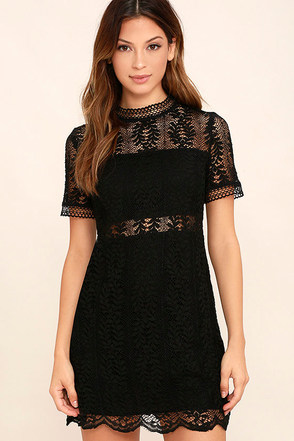 Mink Pink Tell Tale Black Lace Dress at Lulus.com!