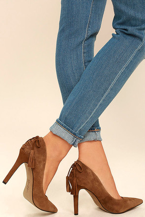 Jessica Simpson Centella Brown Suede Leather Pumps at Lulus.com!
