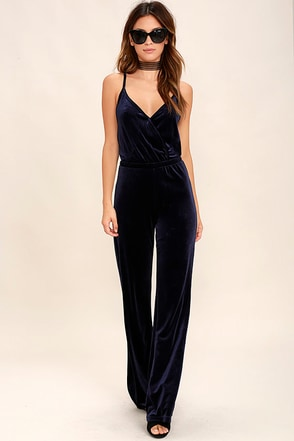 BB Dakota Pearson Navy Blue Velvet Jumpsuit at Lulus.com!