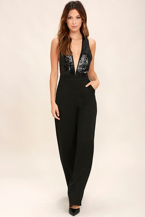 Disco Heaven Navy Blue Sequin Jumpsuit at Lulus.com!
