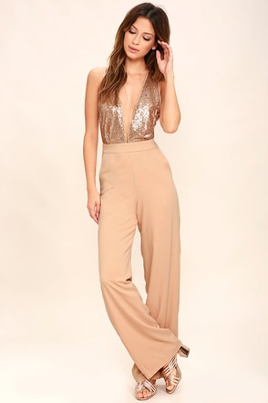 Disco Heaven Beige Sequin Jumpsuit at Lulus.com!